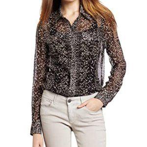 Lucky Brand Sheer Animal Print 100% SILK Shirt S